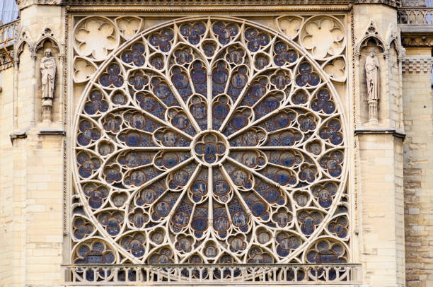 notre dame rose window - rose window stock pictures, royalty-free photos & images