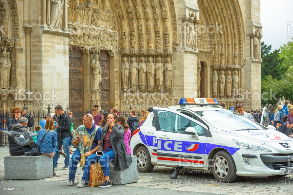 Notre Dame security stock photo