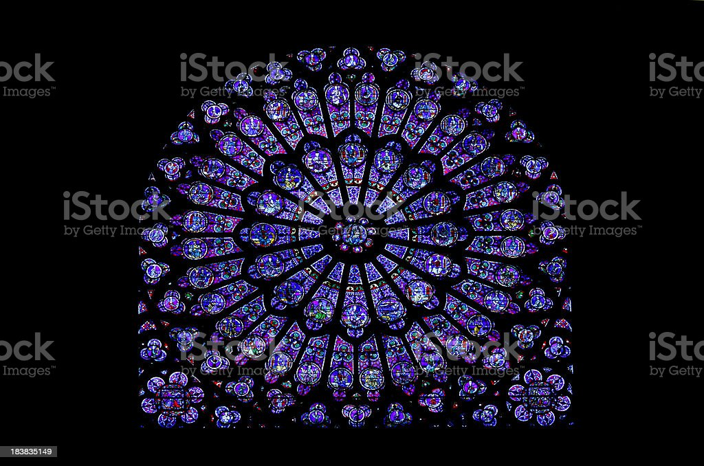 Notre Dame Stained Glass Window stock photo