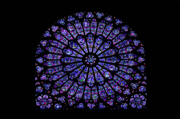 notre dame stained glass window - rose window stock pictures, royalty-free photos & images