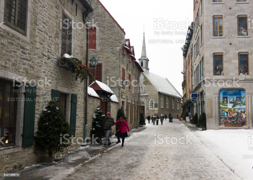 Notre Dame Vieux Quebec view in Old Quebec City, Canada. stock photo
