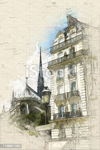 Illustration of Notre Dame de Paris seen from behind,  a typically Parisian building and a sign-post indicating Ile Saint Louis