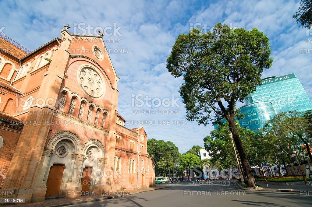 Notre-Dame Basilica church, Saigon, Vietnam stock photo