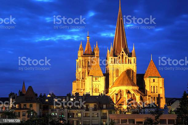 Notredame Cathedral Of Lausanne Switzerland Stock Photo - Download Image Now