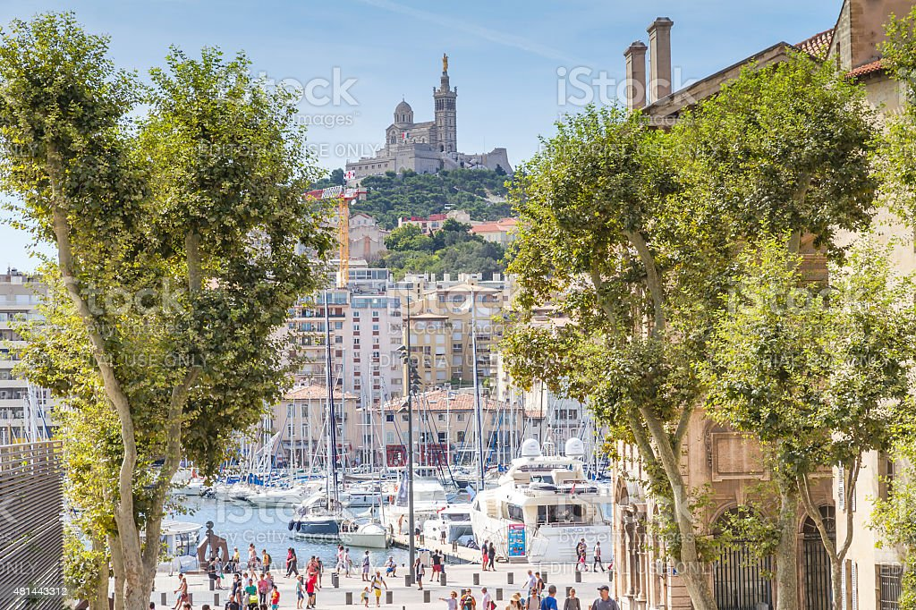 Notre-Dame de la Garde from the Place Villeneuve-Bargemon Marseille stock photo