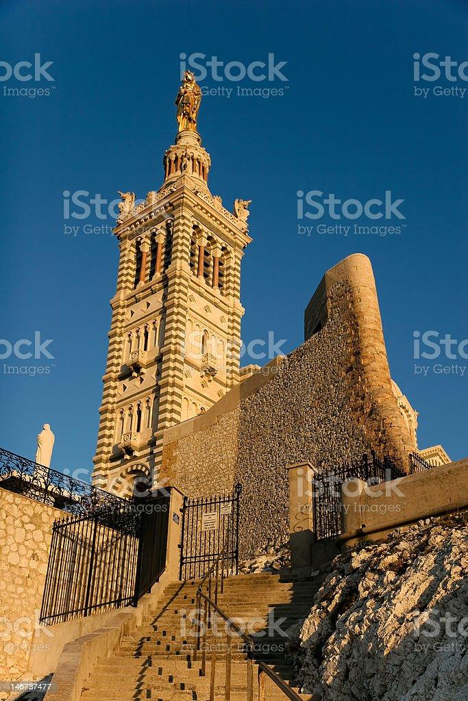 Notre-Dame de la Garde in sunset stock photo