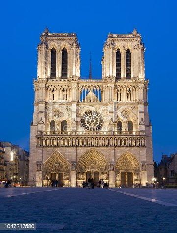 Notre-Dame de Paris Cathedral at night, France