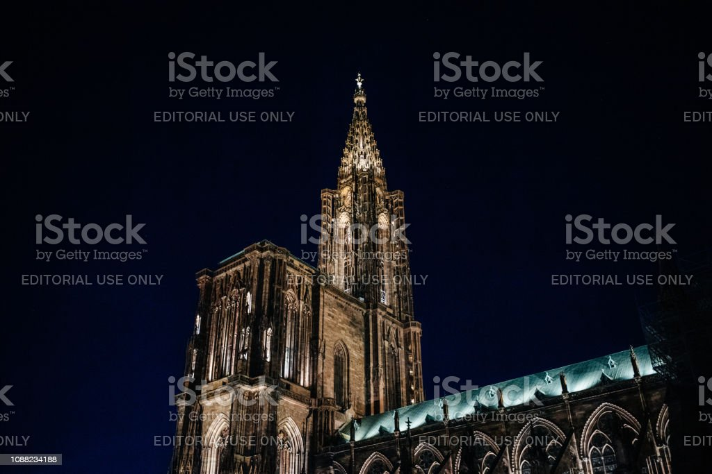 Notre-Dame de Strasbourg cathedral in central Strasbourg at night stock photo