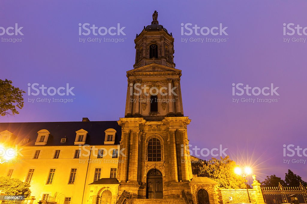Notre-Dame-en-Saint-Melaine Church in Rennes royalty-free stock photo