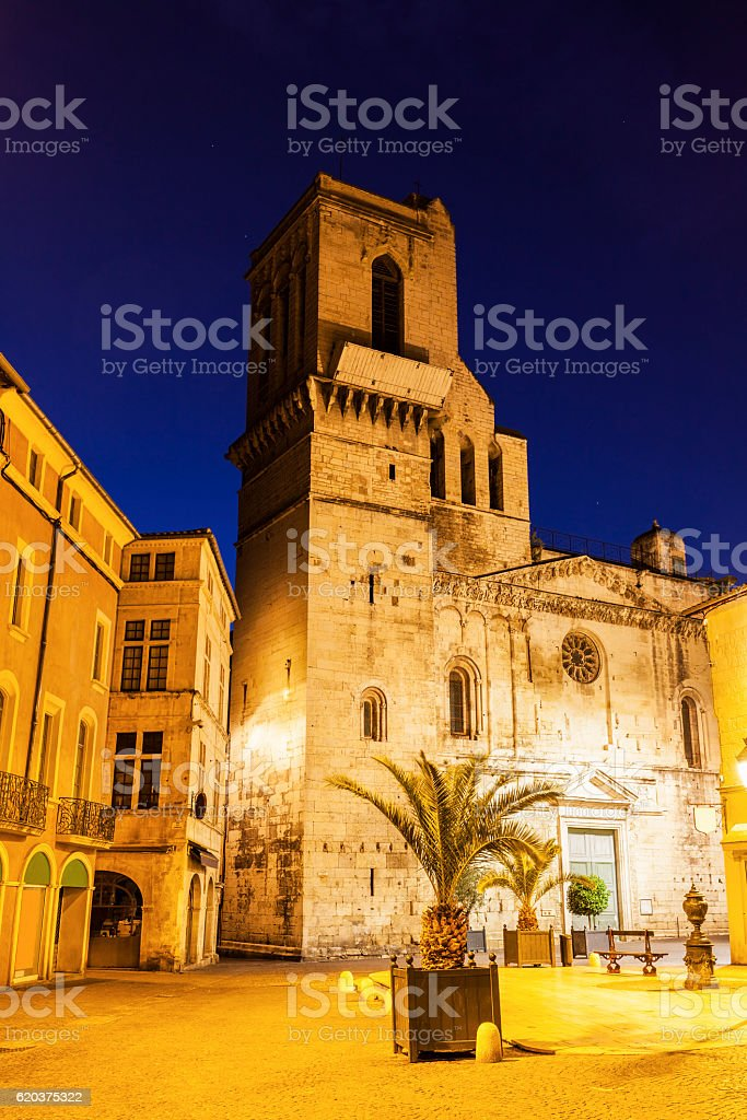 Notre-Dame-et-Saint-Castor Cathedral in Nimes stock photo