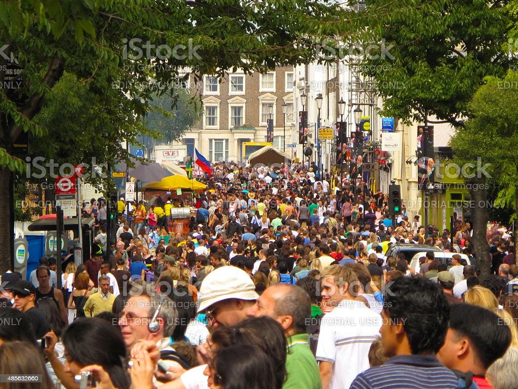 Notting Hill Carnival crowd in London, England stock photo