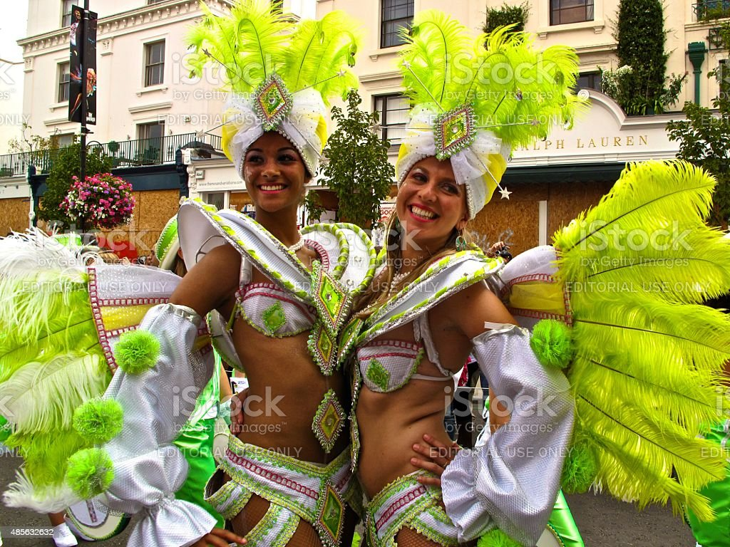 Notting Hill Carnival female performers in London, England stock photo