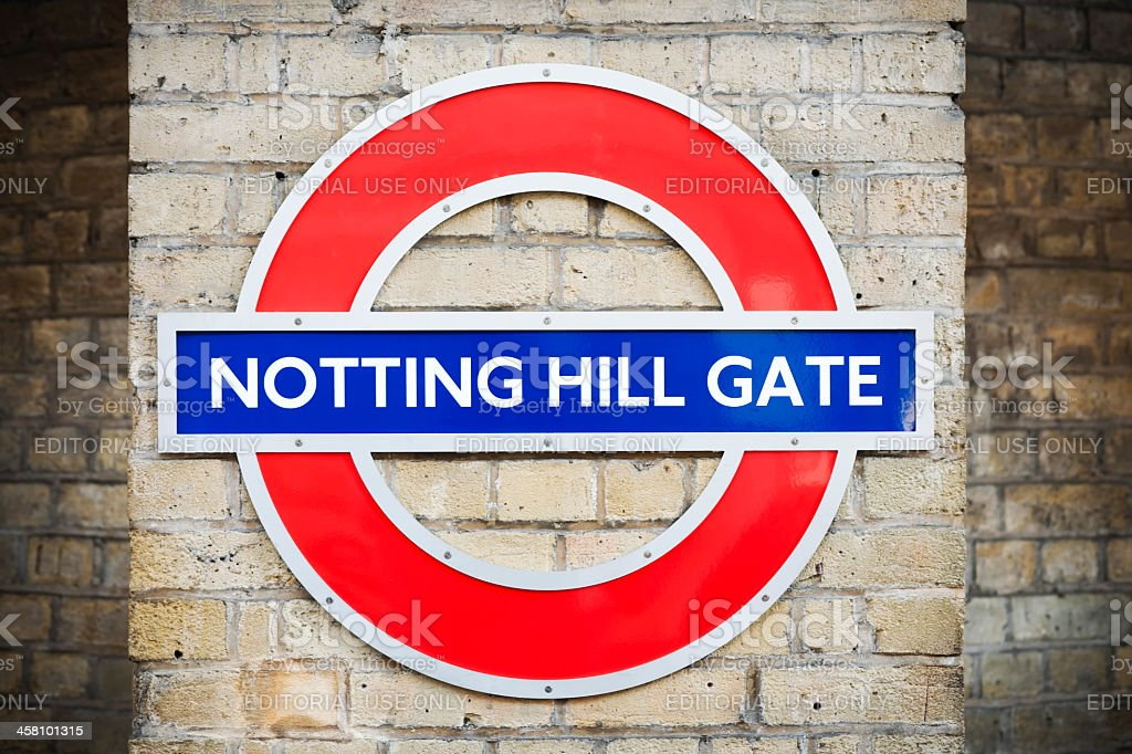 Notting Hill Gate Tube Stop Sign stock photo