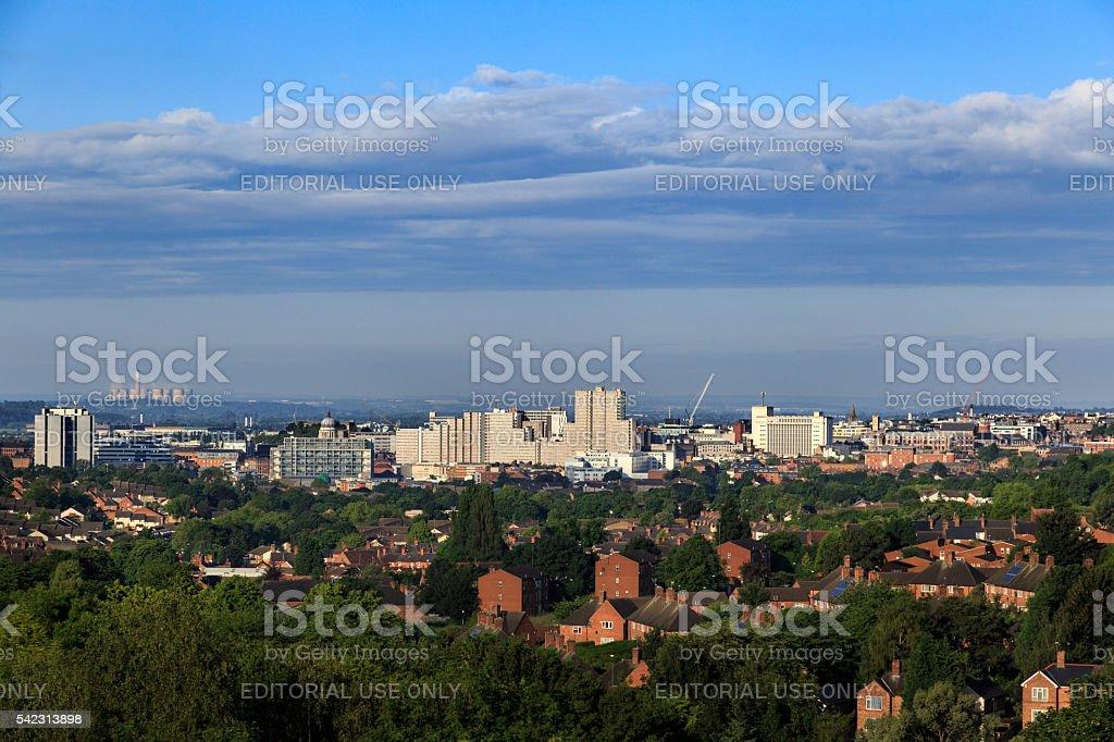 Nottingham City Centre skyline showing Victoria Shopping Centre. stock photo