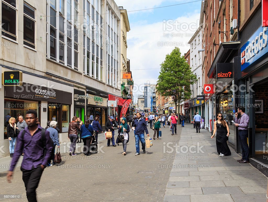 Nottingham Clumber Street Shops And Shoppers stock photo