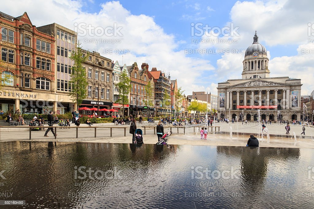 Nottingham Market Square and Council House stock photo