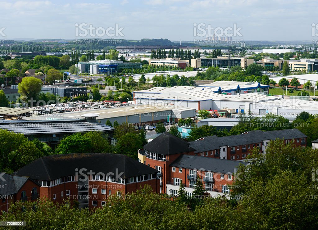 Nottingham skyline looking South-West to Ratcliffe-On-Soar power station stock photo