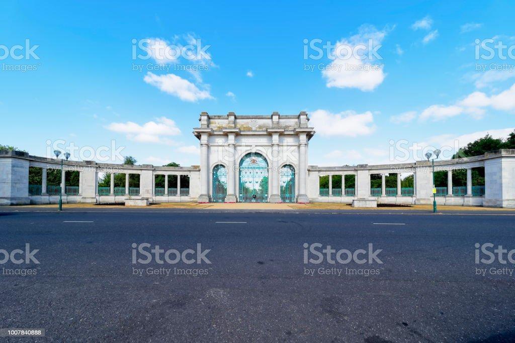 Nottngham Memorial Gardens entrance stock photo