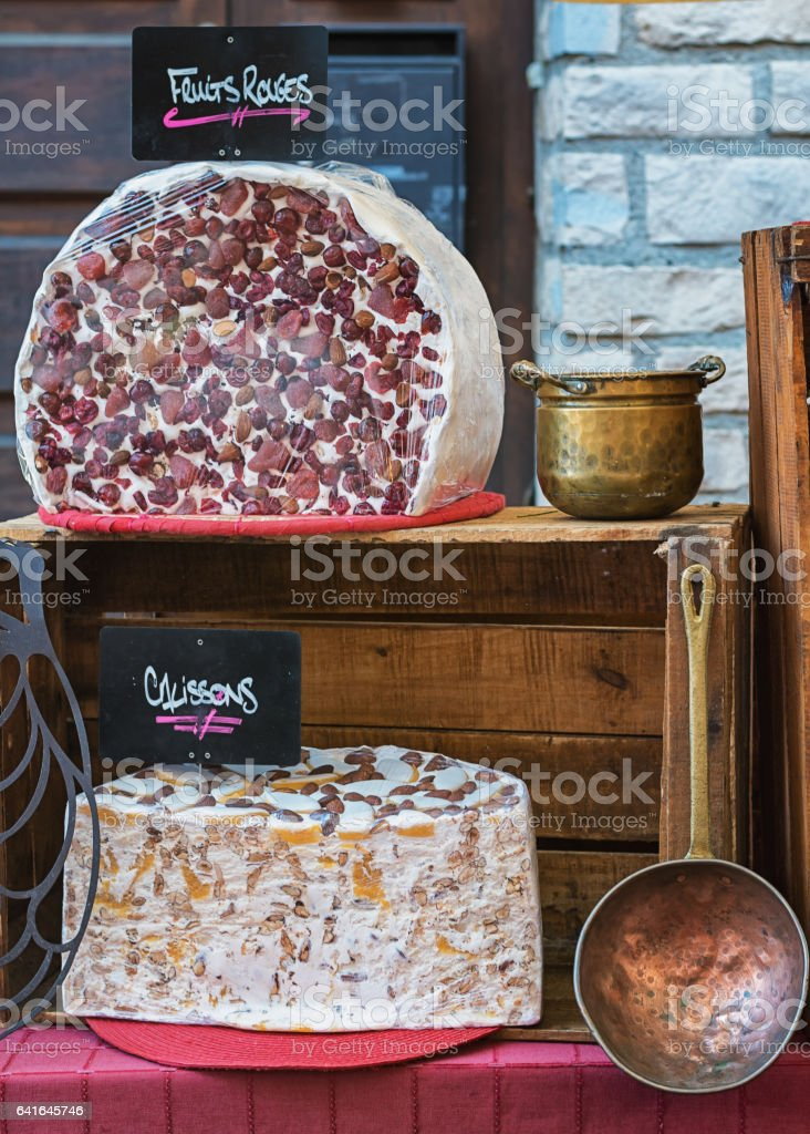 Nougat on a market in France stock photo