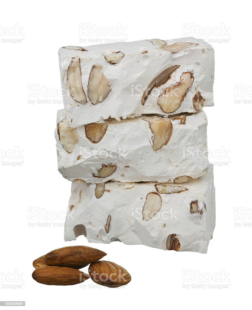 Nougat with almonds stock photo