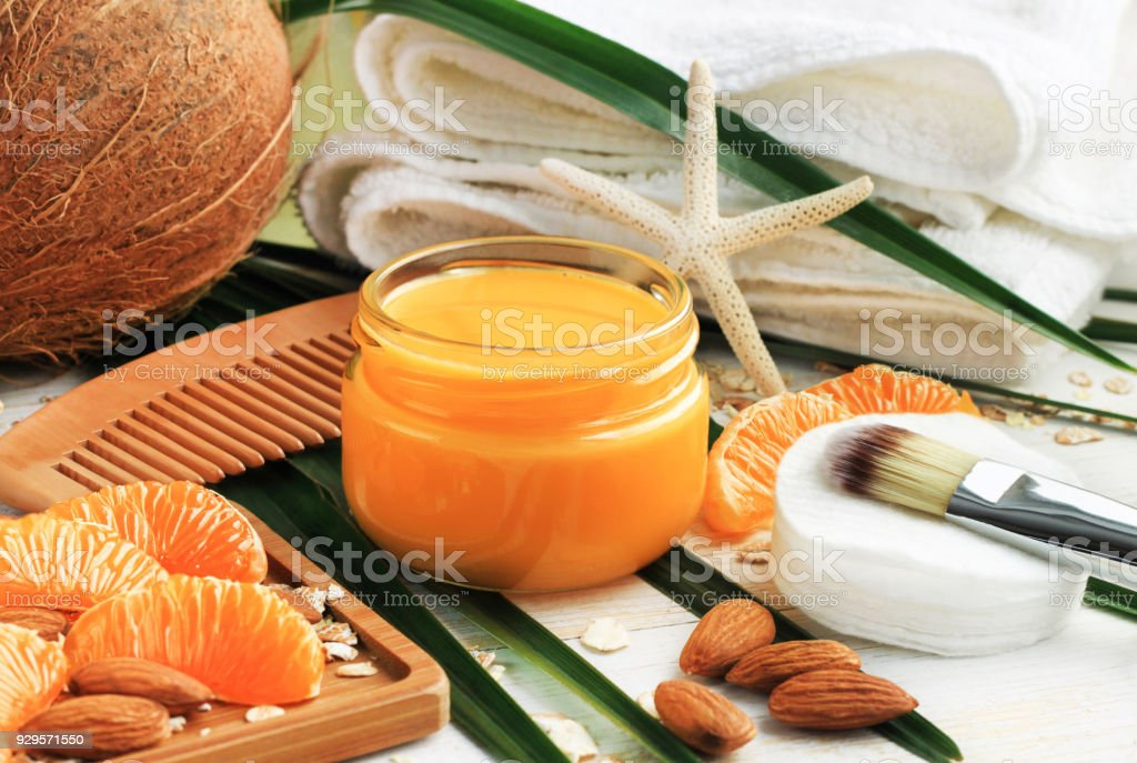ingredients for home spa beauty treatment.