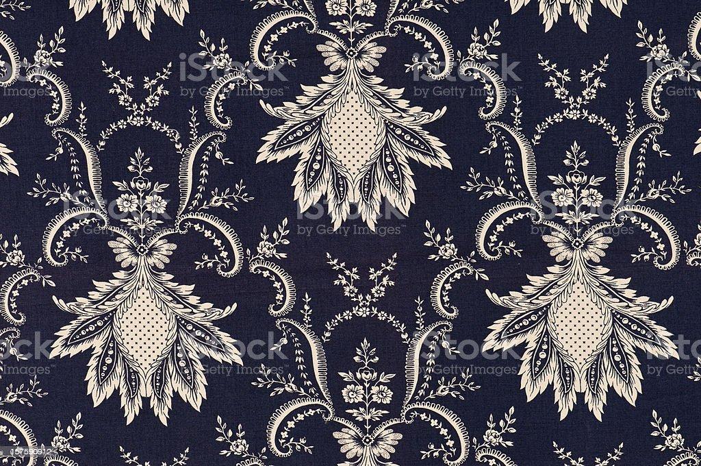 Nouveau Fleur Navy Close Up Antique Fabric royalty-free stock photo