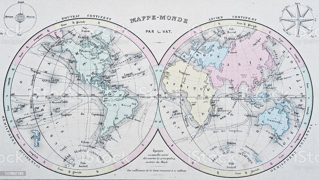 Nouvel Atlas Classique | 19th Century World Map royalty-free stock photo