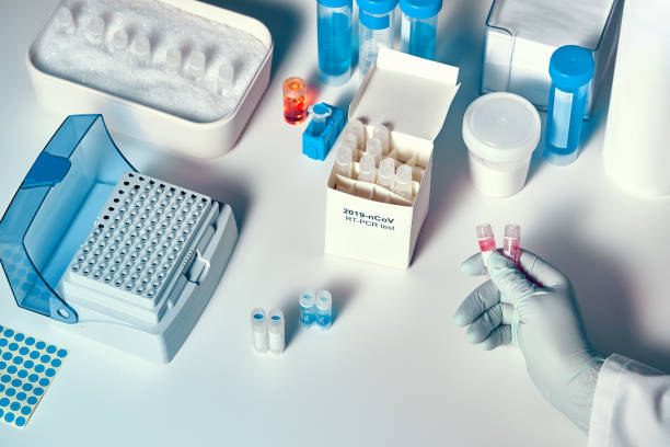 Novel coronavirus 2019 nCoV pcr diagnostics kit. This is Covid-19 real time PCR kit to detect 2019-nCoV virus RNA in clinical specimens. In vitro diagnostic test based on real-time PCR technology stock photo