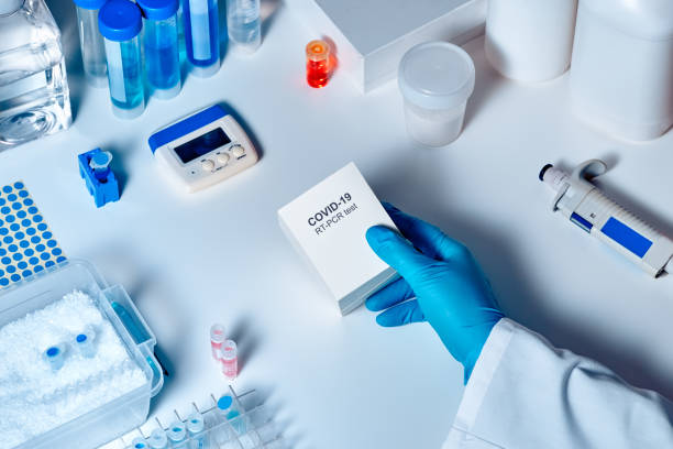 Novel coronavirus 2019 nCoV pcr diagnostics kit. This is RT-PCR kit to detect presence of 2019-nCoV or covid19 virus in clinical sаmples. In vitro diagnostic test based on real-time PCR technology stock photo