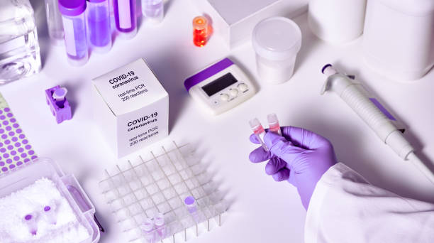 Novel coronavirus 2019 nCoV RT-PCR diagnostics kit. It contains reagents, primers and control samples to detect presence of 2019-nCoV or covid19 virus. In vitro diagnostic by real-time PCR analysis. stock photo