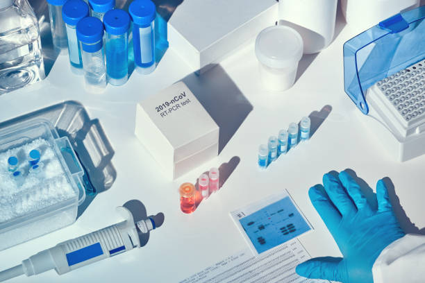 Novel coronavirus 2019 nCoV RT-PCR diagnostics kit. Reagents, primers and control samples to detect presence of 2019-nCoV or covid19 virus. In vitro diagnostic test based on real-time PCR technology. stock photo