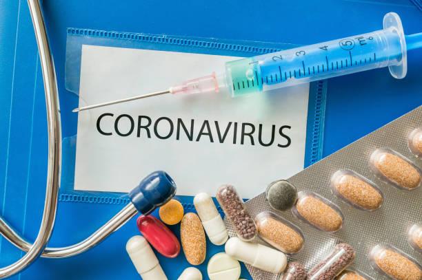 Novel coronavirus disease 2019-nCoV written on blue folder. stock photo