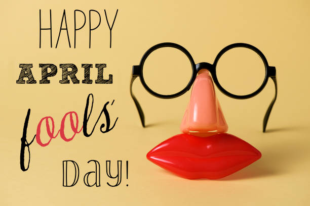 novelty glasses and text happy april fools day - april fools stock pictures, royalty-free photos & images