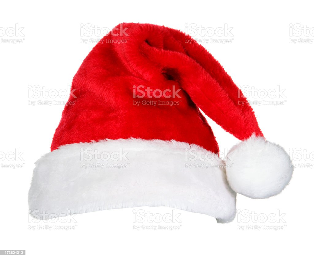 Novelty Santa red & white hat isolated on white royalty-free stock photo