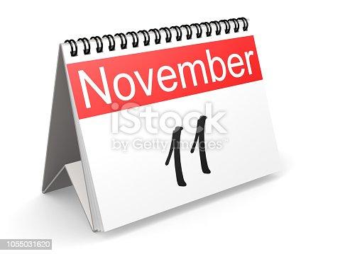 istock November 11 on red and white calendar 1055031620