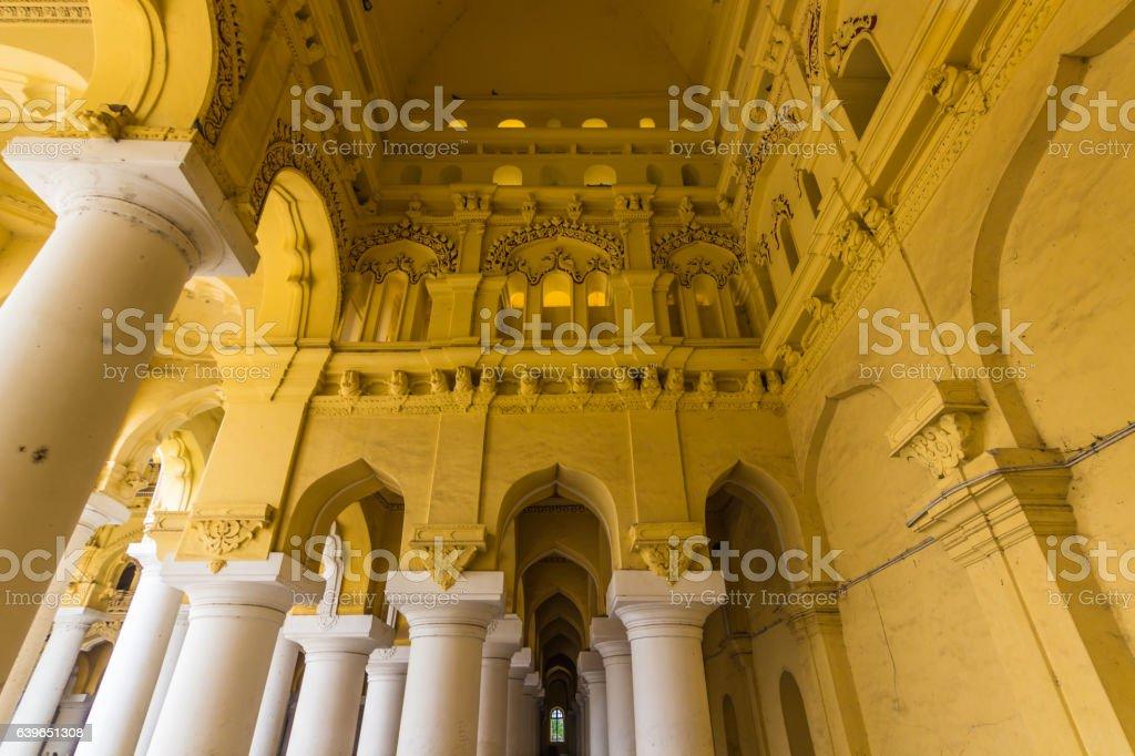 November 13, 2014: Inside the Thirumalai Nayakkar Mahal palace i stock photo