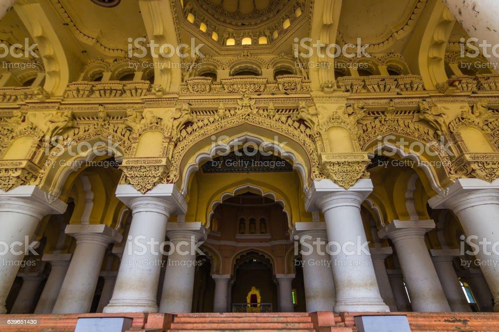 November 13, 2014: Pillars of the Thirumalai Nayakkar Mahal pala stock photo