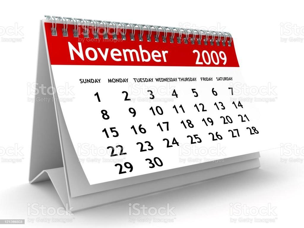 November 2009 - Calendar series royalty-free stock photo