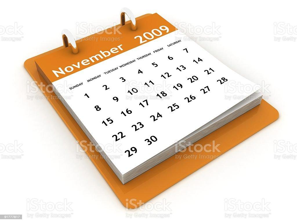 November 2009 - Orange Calendar series royalty-free stock photo