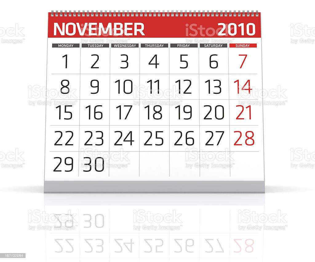 November 2010 - Calendar royalty-free stock photo