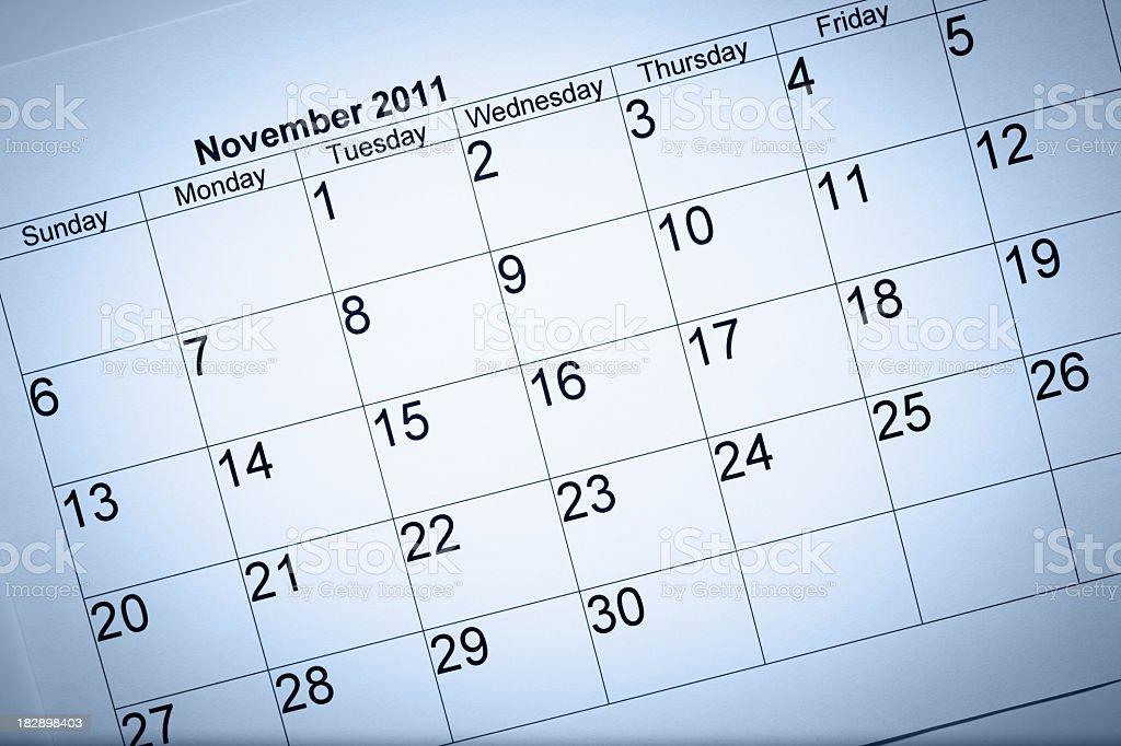 November 2011 calendar royalty-free stock photo