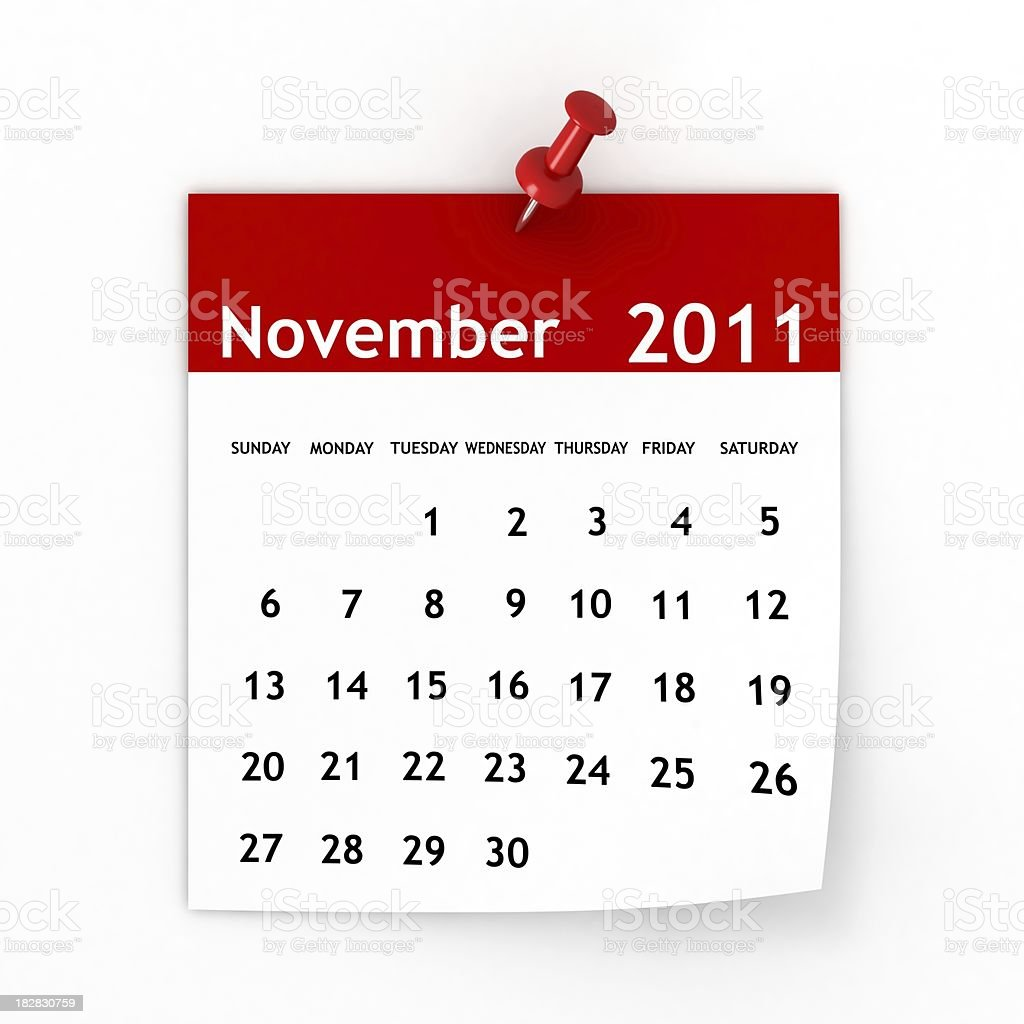 November 2011 - Calendar series stock photo