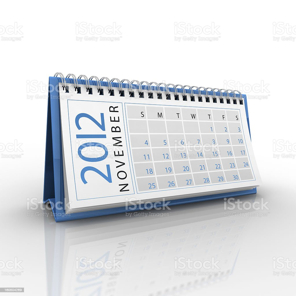 November 2012 Calendar royalty-free stock photo