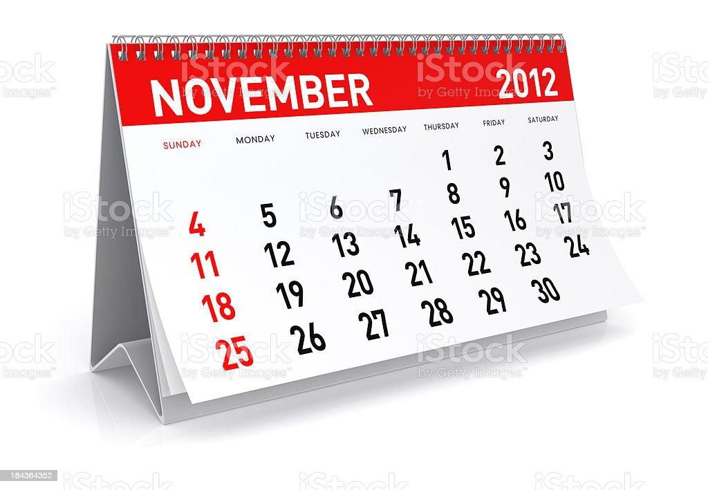 November 2012 - Calendar stock photo