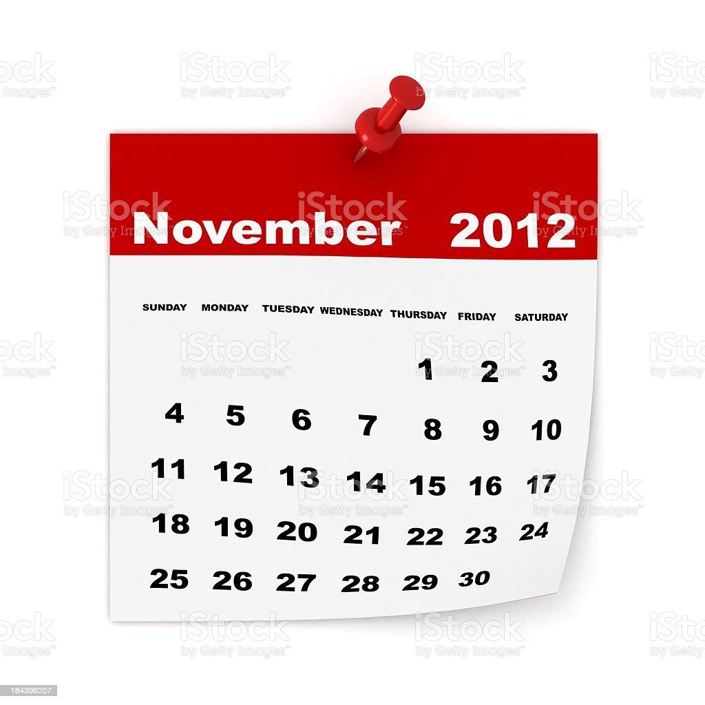 November 2012 Calendar stock photo