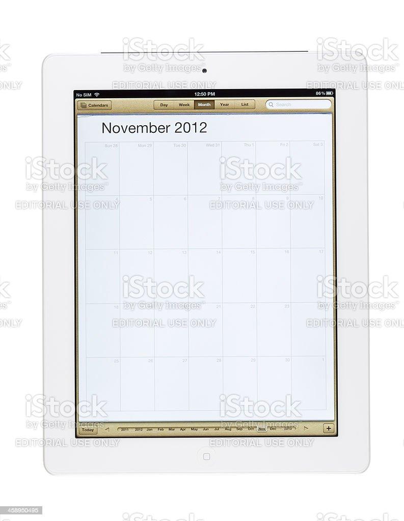 November 2012 Calender on New Ipad royalty-free stock photo
