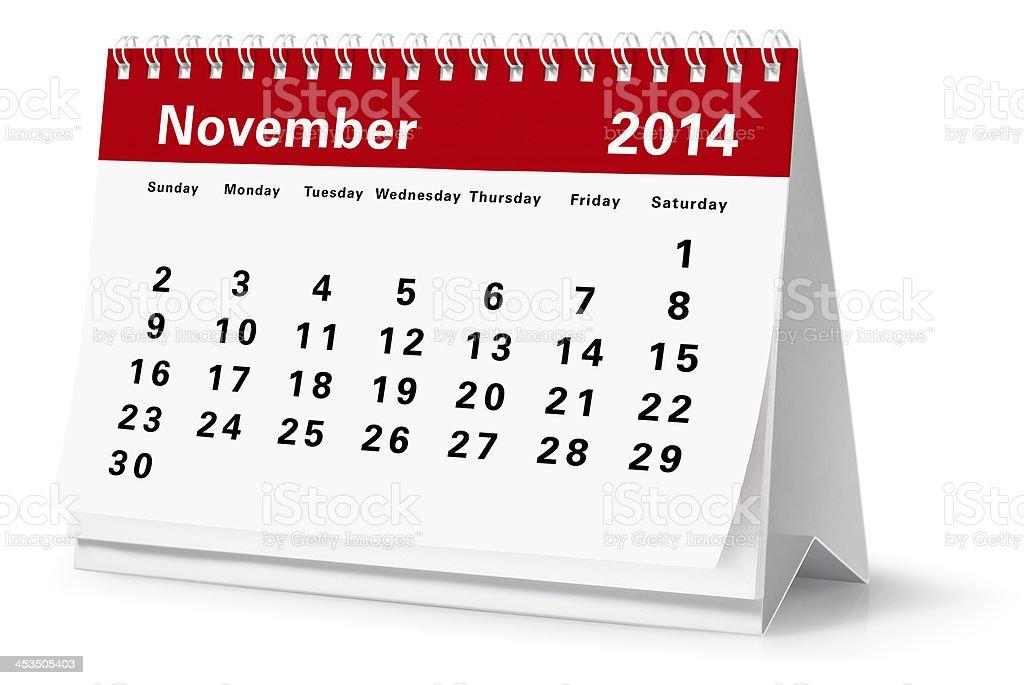 November - 2014 Desktop Calendar (Clipping Path) royalty-free stock photo