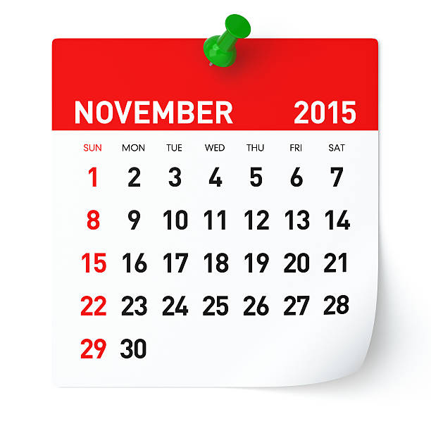 Calendario de noviembre de 2015 - foto de stock