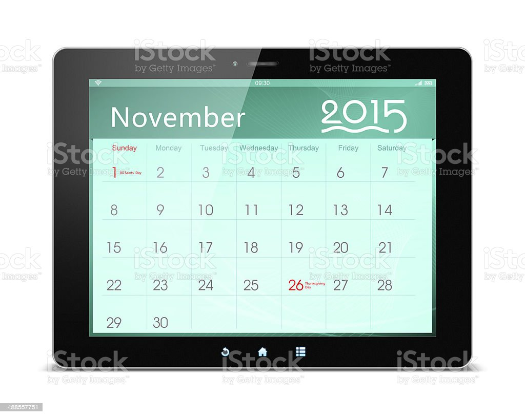 November 2015 Calender on digital tablet royalty-free stock photo