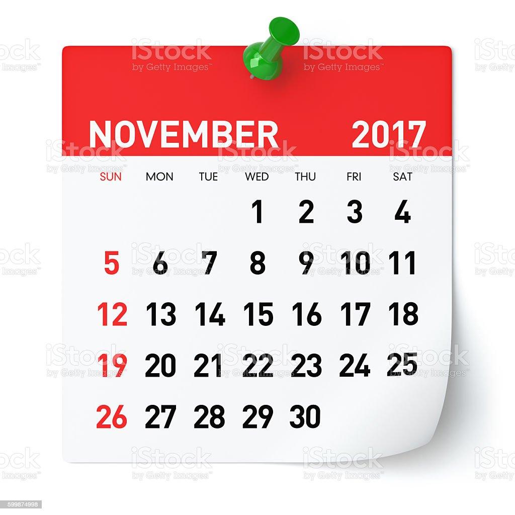 November 2017 - Calendar foto de stock royalty-free
